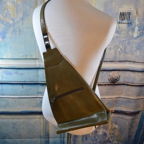 03d866ebd25b Guess Handbags - vintage 90s Guess olive leather backpack purse